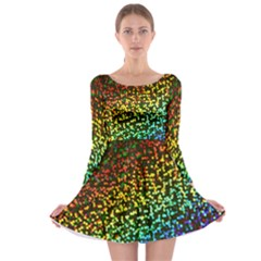 Construction Paper Iridescent Long Sleeve Skater Dress