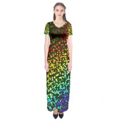 Construction Paper Iridescent Short Sleeve Maxi Dress
