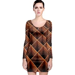 Metal Grid Framework Creates An Abstract Long Sleeve Bodycon Dress