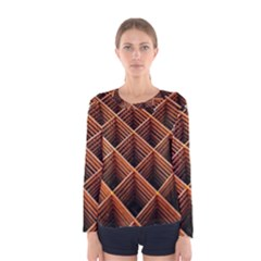 Metal Grid Framework Creates An Abstract Women s Long Sleeve Tee