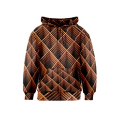Metal Grid Framework Creates An Abstract Kids  Zipper Hoodie