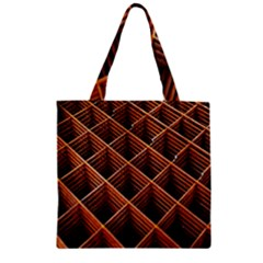Metal Grid Framework Creates An Abstract Zipper Grocery Tote Bag