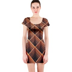 Metal Grid Framework Creates An Abstract Short Sleeve Bodycon Dress