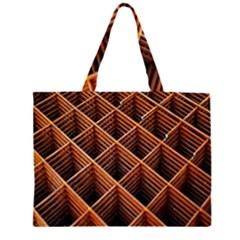 Metal Grid Framework Creates An Abstract Zipper Large Tote Bag