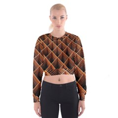 Metal Grid Framework Creates An Abstract Women s Cropped Sweatshirt