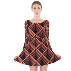 Metal Grid Framework Creates An Abstract Long Sleeve Velvet Skater Dress