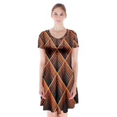 Metal Grid Framework Creates An Abstract Short Sleeve V Neck Flare Dress
