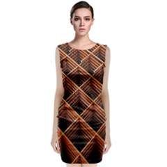 Metal Grid Framework Creates An Abstract Classic Sleeveless Midi Dress