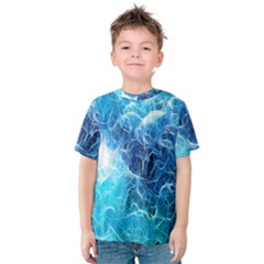Fractal Occean Waves Artistic Background Kids  Cotton Tee