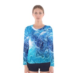 Fractal Occean Waves Artistic Background Women s Long Sleeve Tee