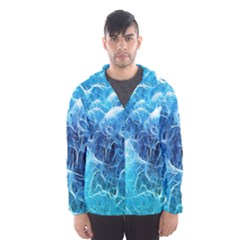 Fractal Occean Waves Artistic Background Hooded Wind Breaker (men)