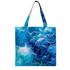 Fractal Occean Waves Artistic Background Zipper Grocery Tote Bag