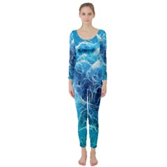 Fractal Occean Waves Artistic Background Long Sleeve Catsuit