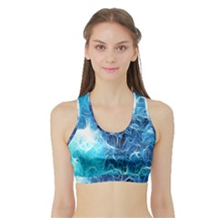 Fractal Occean Waves Artistic Background Sports Bra With Border