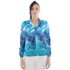 Fractal Occean Waves Artistic Background Wind Breaker (women)