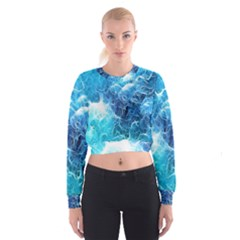 Fractal Occean Waves Artistic Background Women s Cropped Sweatshirt