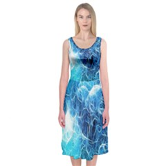 Fractal Occean Waves Artistic Background Midi Sleeveless Dress