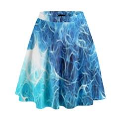 Fractal Occean Waves Artistic Background High Waist Skirt