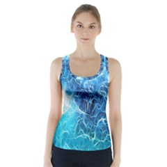 Fractal Occean Waves Artistic Background Racer Back Sports Top