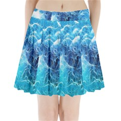 Fractal Occean Waves Artistic Background Pleated Mini Skirt
