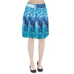 Fractal Occean Waves Artistic Background Pleated Skirt