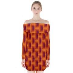 Fractal Multicolored Background Long Sleeve Off Shoulder Dress