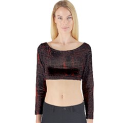 Black And Red Background Long Sleeve Crop Top