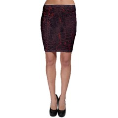 Black And Red Background Bodycon Skirt