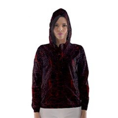 Black And Red Background Hooded Wind Breaker (women)