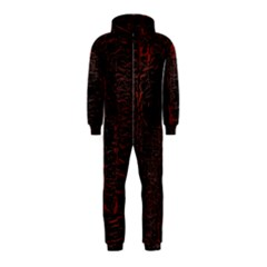 Black And Red Background Hooded Jumpsuit (kids)