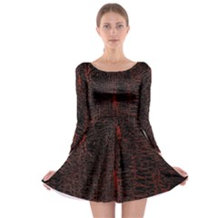Black And Red Background Long Sleeve Skater Dress