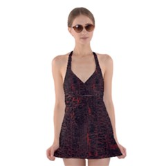 Black And Red Background Halter Swimsuit Dress