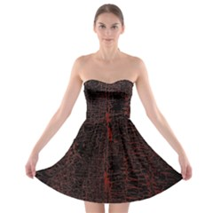 Black And Red Background Strapless Bra Top Dress