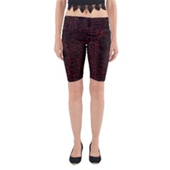 Black And Red Background Yoga Cropped Leggings