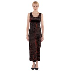 Black And Red Background Fitted Maxi Dress
