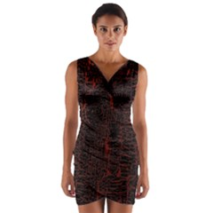 Black And Red Background Wrap Front Bodycon Dress