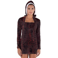 Black And Red Background Women s Long Sleeve Hooded T Shirt
