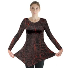 Black And Red Background Long Sleeve Tunic