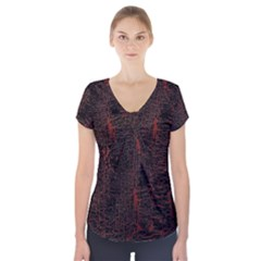Black And Red Background Short Sleeve Front Detail Top
