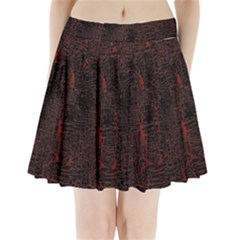 Black And Red Background Pleated Mini Skirt