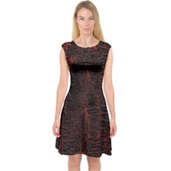 Black And Red Background Capsleeve Midi Dress