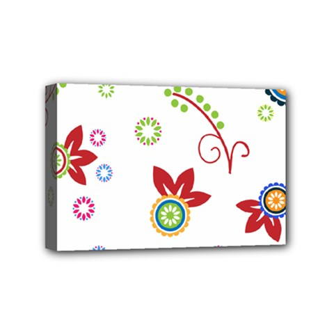 Colorful Floral Wallpaper Background Pattern Mini Canvas 6  X 4