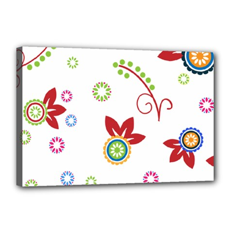 Colorful Floral Wallpaper Background Pattern Canvas 18  X 12