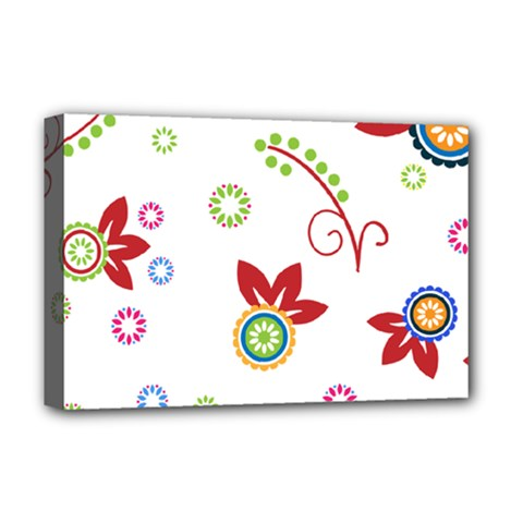 Colorful Floral Wallpaper Background Pattern Deluxe Canvas 18  X 12