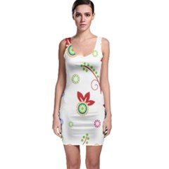 Colorful Floral Wallpaper Background Pattern Sleeveless Bodycon Dress