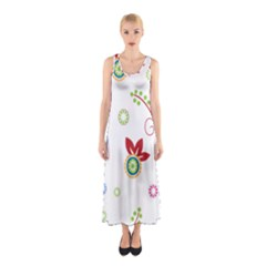 Colorful Floral Wallpaper Background Pattern Sleeveless Maxi Dress