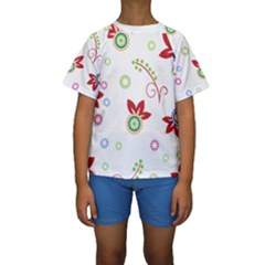 Colorful Floral Wallpaper Background Pattern Kids  Short Sleeve Swimwear