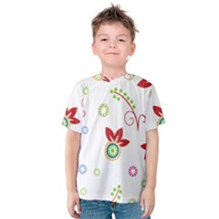 Colorful Floral Wallpaper Background Pattern Kids  Cotton Tee