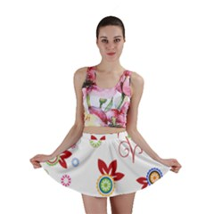 Colorful Floral Wallpaper Background Pattern Mini Skirt