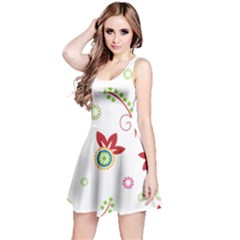 Colorful Floral Wallpaper Background Pattern Reversible Sleeveless Dress